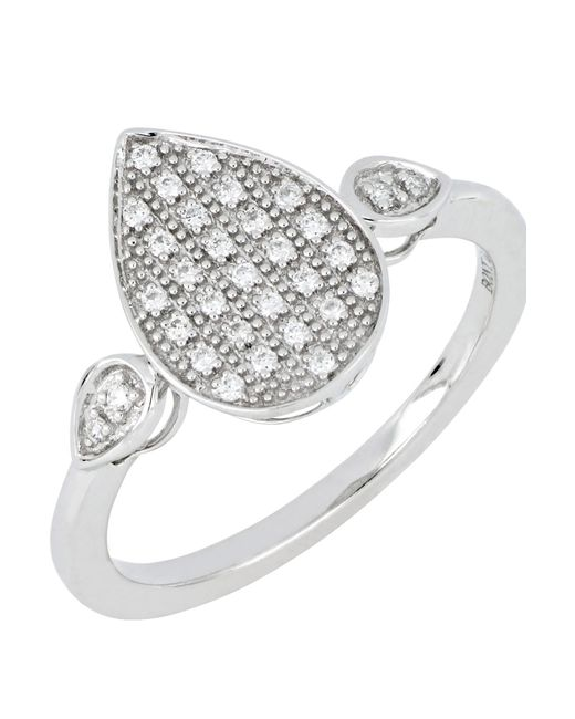 Bony Levy - Multicolor 18k White Gold Diamond Pave Pear Ring - Size 6.5 - 0.12 Ctw - Lyst