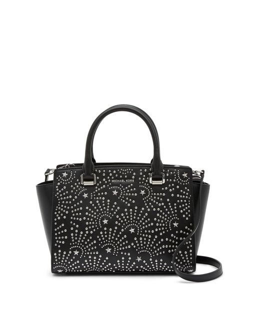 MICHAEL Michael Kors - Black Md Leather Studded Satchel - Lyst