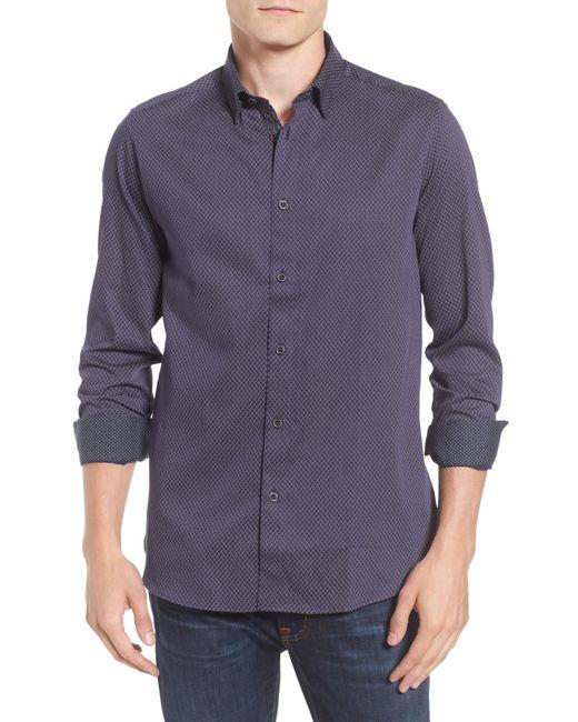 Ted Baker - Blue Modern Slim Fit Print Sport Shirt for Men - Lyst
