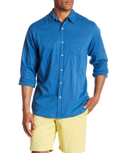 Velvet By Graham & Spencer - Blue Front Button Long Sleeve Classic Fit Shirt for Men - Lyst