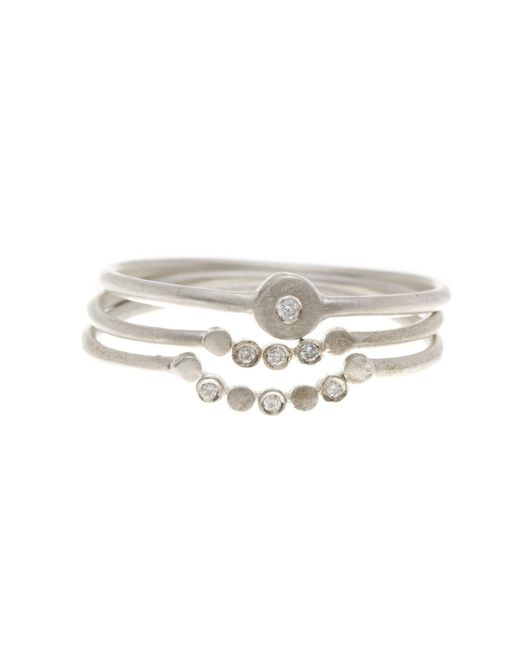 Dogeared - Metallic Perfect Diamond Stack Ring - Set Of 3 - Lyst