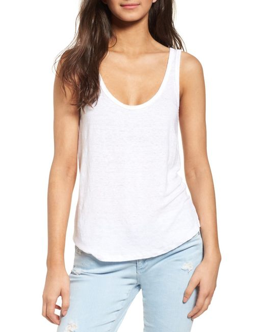 AG Jeans | White The Carmen Linen Tank | Lyst