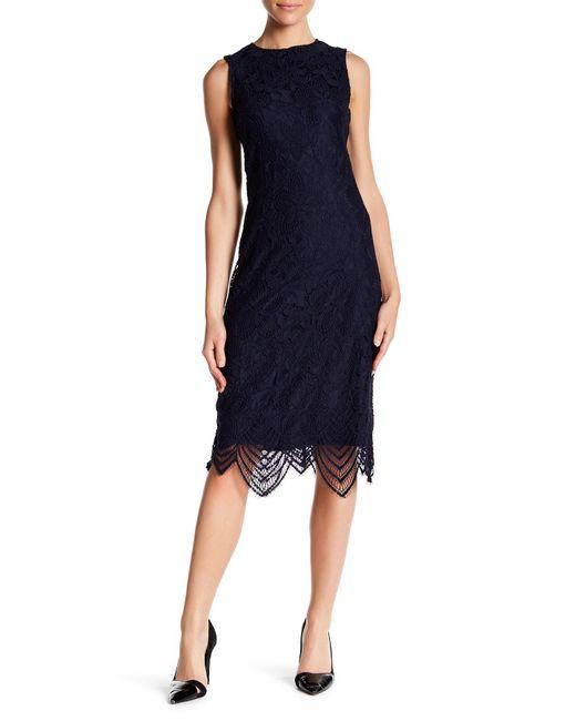 Sharagano - Blue Crew Neck Knit Detail Sleeveless Dress - Lyst