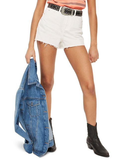 TOPSHOP - White Cutoff Denim Mom Shorts - Lyst