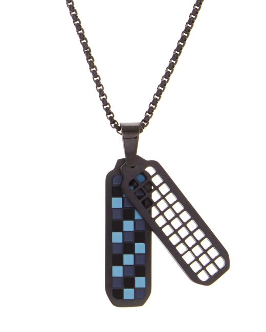 Ben Sherman - Blue Stainless Steel Checkerboard Pendant Necklace for Men - Lyst
