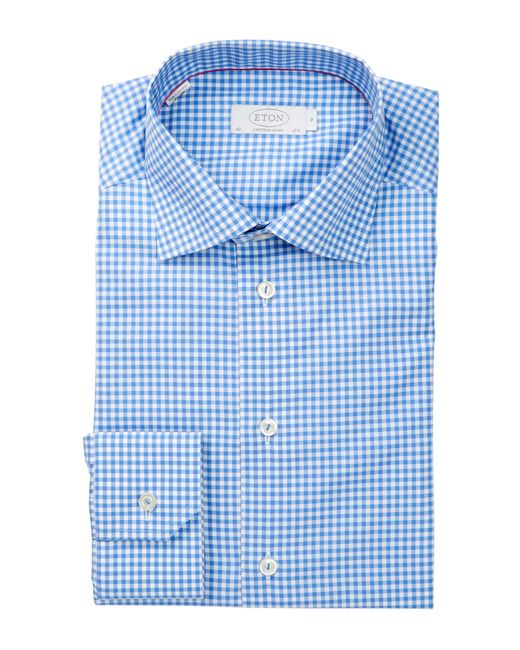 Eton of Sweden | Blue Long Sleeve Contemporary Fit Check Dress Shirt for Men | Lyst
