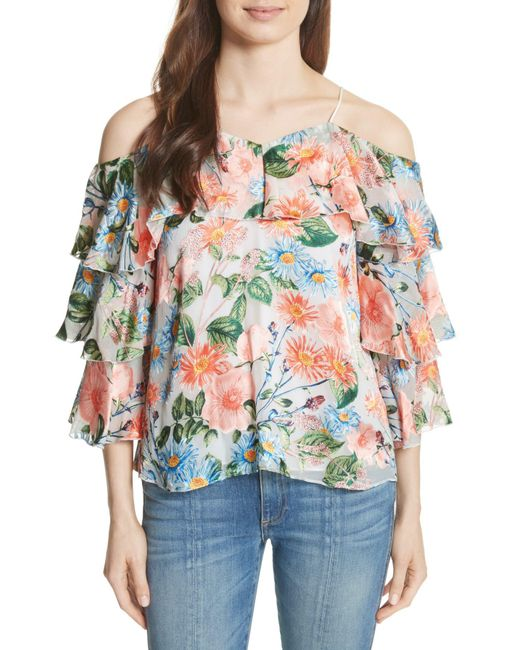 Alice + Olivia - Multicolor Marylee Floral Off The Shoulder Blouse - Lyst