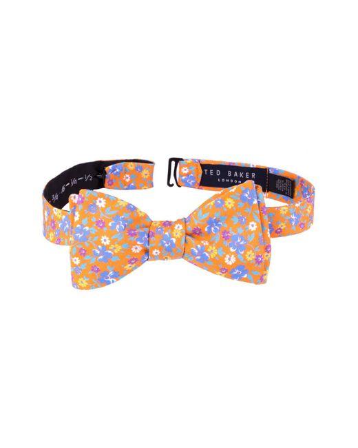 Ted Baker - Orange Floral Cotton Bow Tie for Men - Lyst
