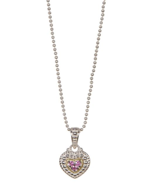 Judith Ripka   Metallic Sterling Silver Pave Center Heart Drop Necklace   Lyst