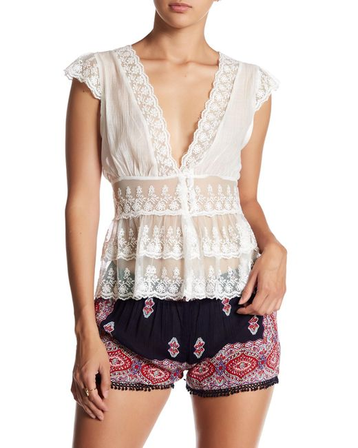 Raga - White English Meadow Embroidered Lace Blouse - Lyst