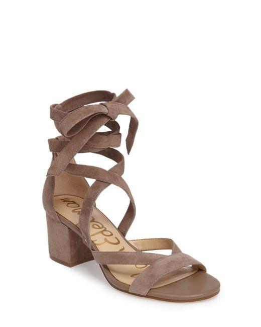 Sam Edelman - Brown Sheri Wrap-ankle Block Heel Sandal - Lyst