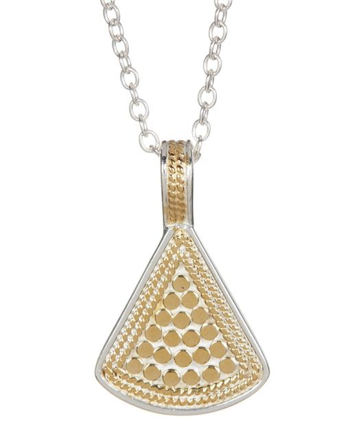 Anna Beck | Metallic Sterling Silver & 18k Gold Reversible Fan Pendant Necklace | Lyst