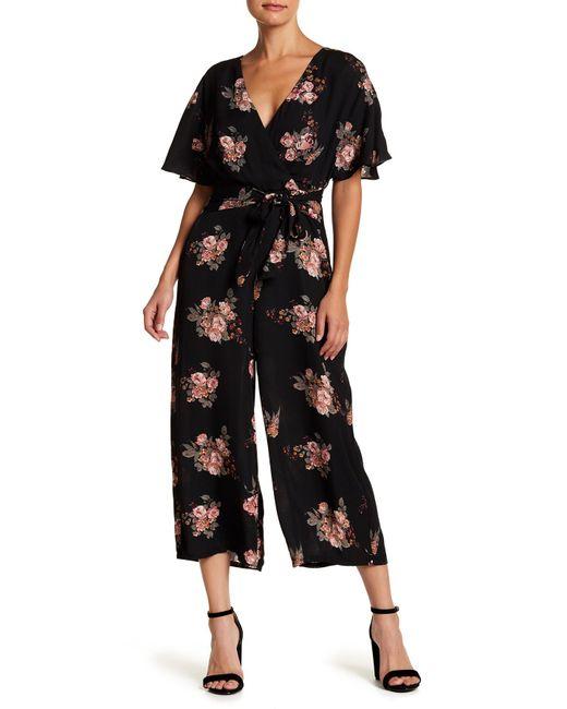 June & Hudson | Black Floral Faux Wrap Jumpsuit | Lyst