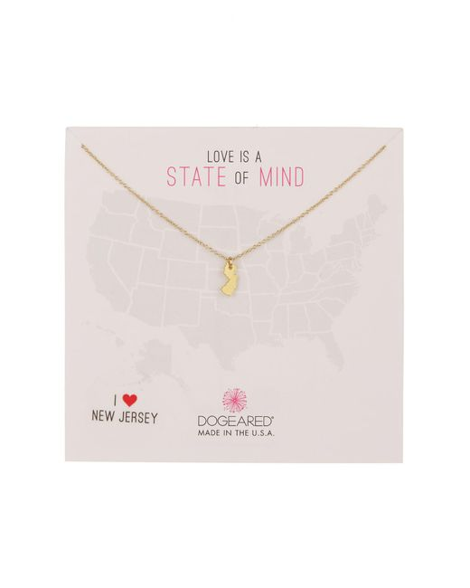 Dogeared - Metallic New Jersey State Of Mind Pendant Necklace - Lyst