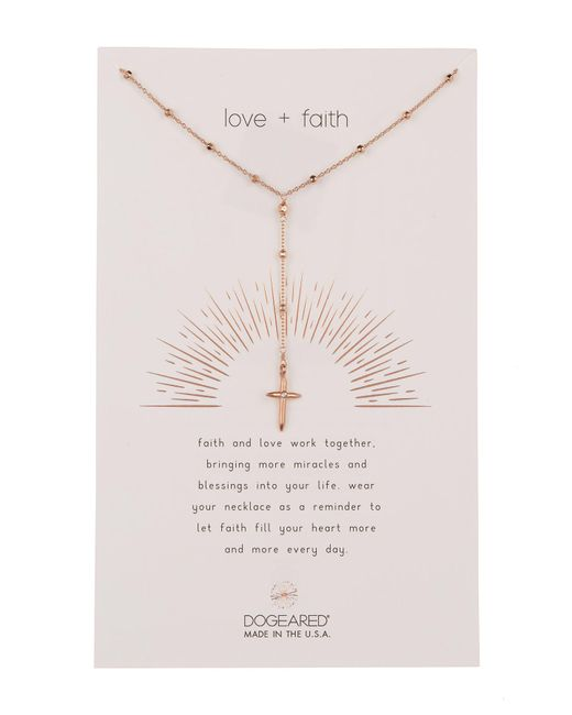 Dogeared - Pink Love & Faith Rosary Cross Y-drop Necklace - Lyst