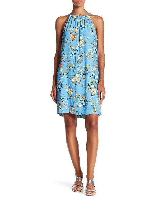 Fifteen Twenty   Blue Floral High Neck Dress   Lyst
