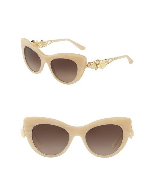 Dolce & Gabbana - White 50mm Rose Cat Eye Sunglasses - Lyst