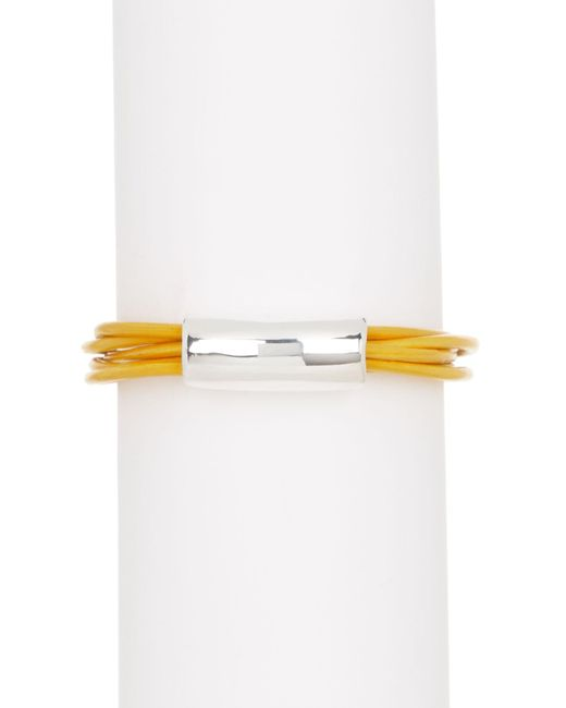 Simon Sebbag - Metallic Marigold Leather Bracelet With Center Silver Accent - Lyst