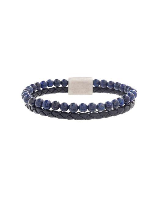 Steve Madden - Blue Lapis Beaded & Braided Black Faux Leather Bracelet for Men - Lyst