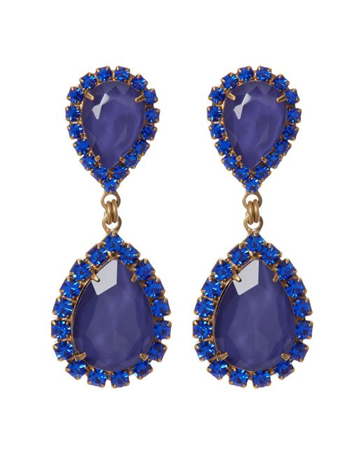 Loren Hope   Blue Abba Pave Marquise Cut Stone Drop Earrings   Lyst