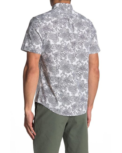 b58cdbcf ... Original Penguin - White Floral Short Sleeve Heritage Slim Fit Shirt  for Men - Lyst