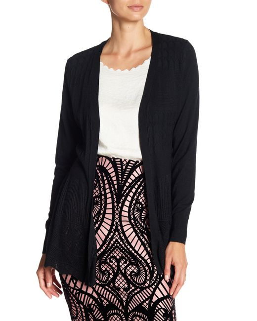 Dreamers By Debut - Black Textured Open Front Cardigan - Lyst