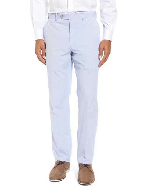 JB Britches - Blue Flat Front Stripe Wool Blend Trousers for Men - Lyst