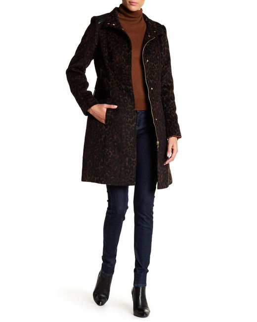Via Spiga | Black Funnel Collar Muted Leopard Print Faux Leather Trim Coat | Lyst