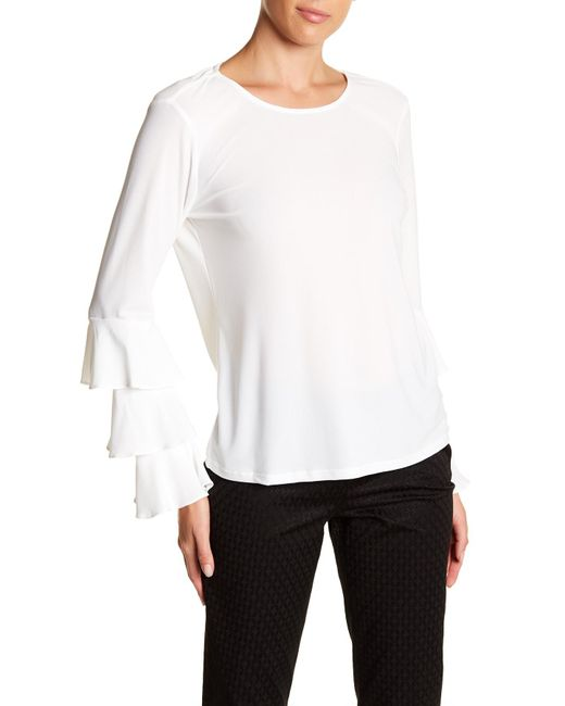 Cece by Cynthia Steffe   White Tiered Bell Sleeve Blouse   Lyst