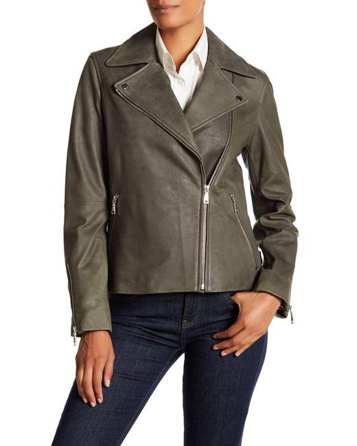T Tahari - Green Skylar Leather Jacket - Lyst
