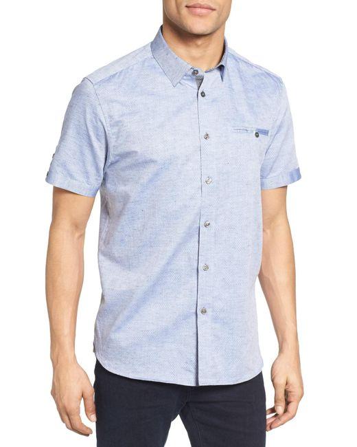 Ted Baker - Blue Caycay Mini Bobby Modern Slim Fit Sport Shirt for Men - Lyst
