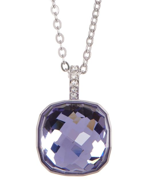 Swarovski | Purple Faceted Half Dome Pendant Necklace | Lyst
