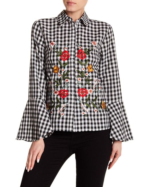 Haute Rogue - Black Embroidered Bell Sleeve Gingham Top - Lyst