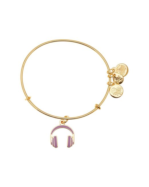 ALEX AND ANI - Metallic Headphones Color Infusion Expandable Wire Charm Bracelet - Lyst