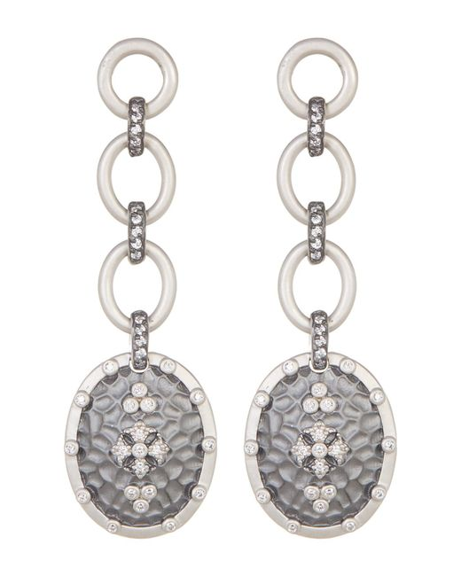 Freida Rothman | Metallic Long Hammered Clover Shield Drop Earrings | Lyst