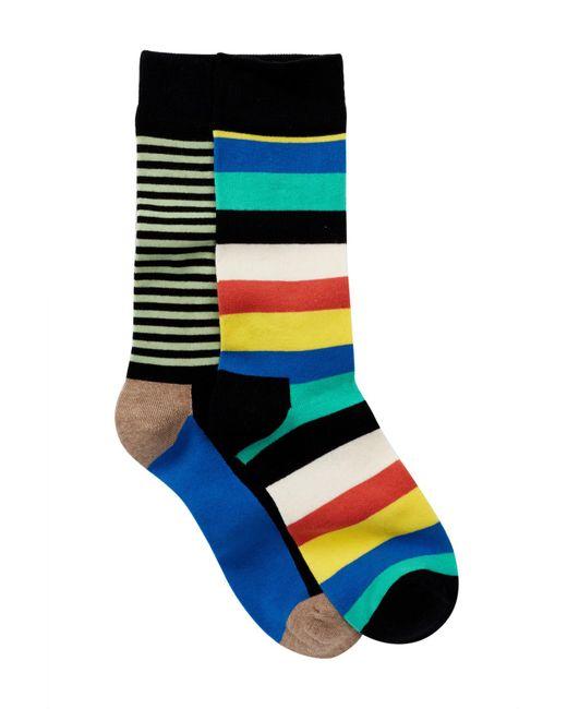 Happy Socks - Black Non Terry Crew Socks - Pack Of 2 for Men - Lyst