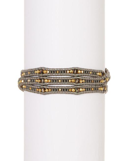Chan Luu   Gray Ladder Stone Bead Detail Wrap Bracelet   Lyst