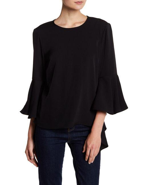 Philosophy Apparel | Black Ruffle Asymmetrical Sleeve Blouse | Lyst
