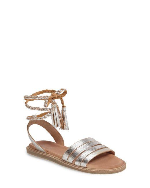 Seychelles - Metallic Botanical Leather Tassel Wraparound Sandal - Lyst