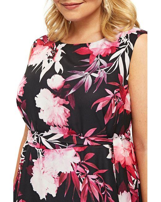 d2783e56340 Lyst - Evans Tropical Floral Fit   Flare Dress (plus Size) in Black