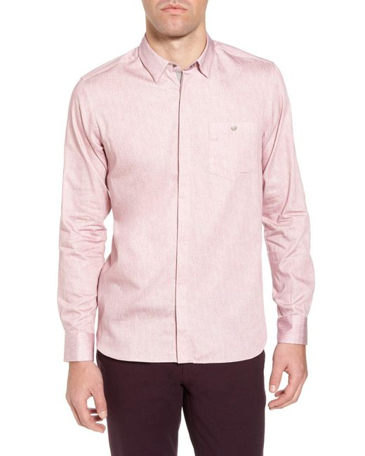 Ted Baker - Pink Herringbone Long Sleeve Shirt for Men - Lyst