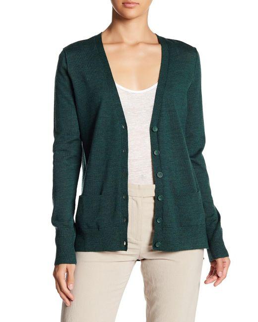 Halogen | Green Lightweight Merino Wool V-neck Cardigan | Lyst