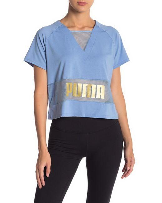 PUMA - Blue Logo Print Top - Lyst