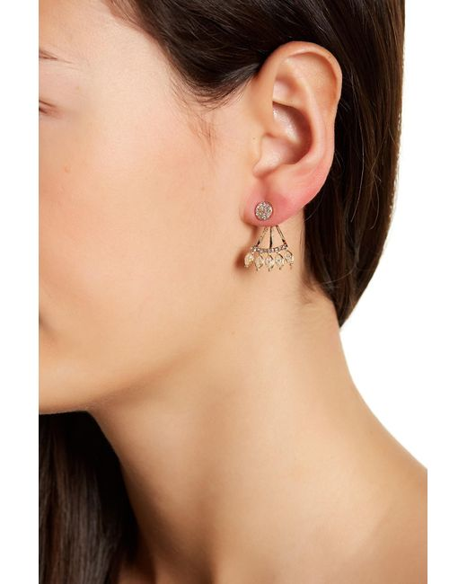 Joe Fresh | Multicolor Pave & Bezel Set Cz Detail Earrings | Lyst