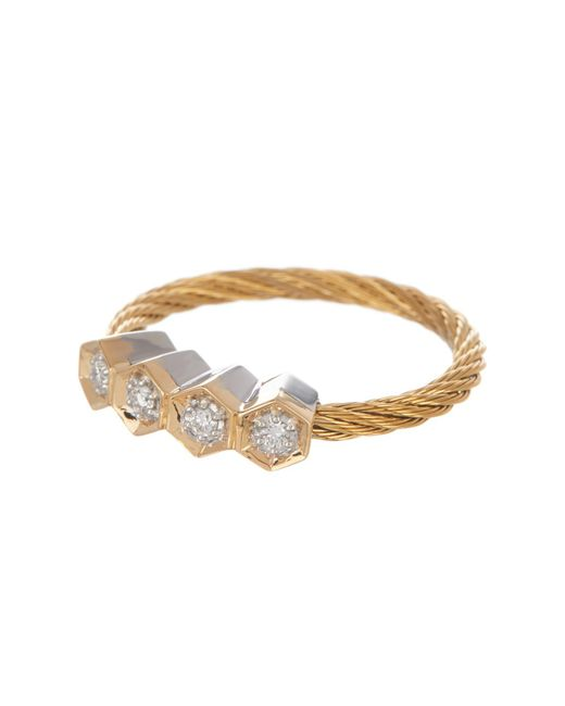 Alor - Metallic 18k White Gold & Yellow Stainless Steel Cable Diamond Quad Hex Ring - Size 7 - 0.09 Ctw - Lyst