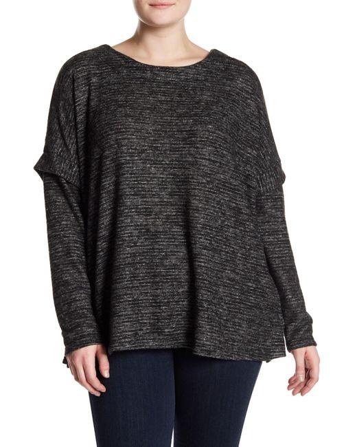 Bobeau - Black Cozy Slub Stripe Sweater - Lyst