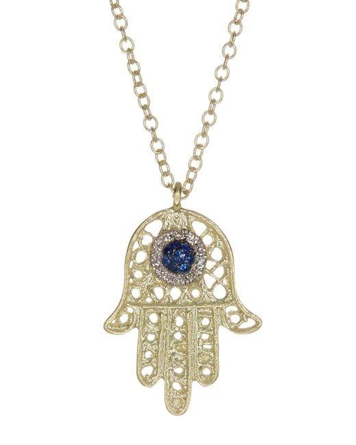 Meira T | Metallic 14k Yellow Gold Diamond & Blue Sapphire Hamsa Charm Necklace - 0.05 Ctw | Lyst