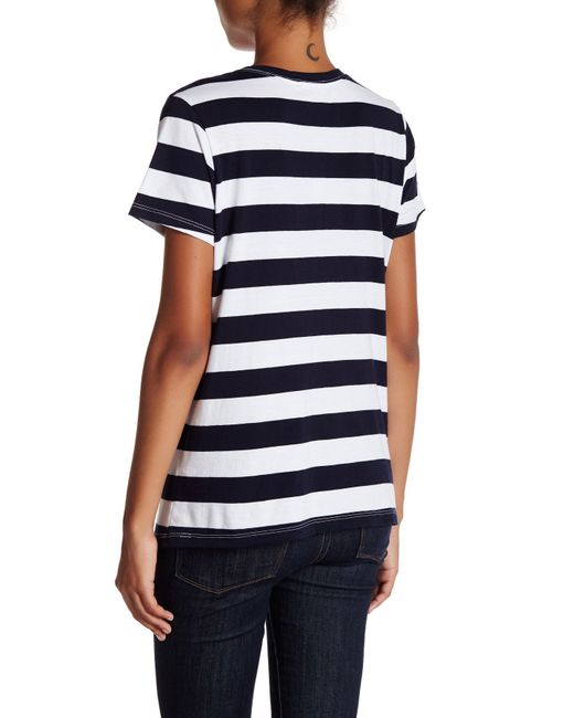 Michael stars big stripe short sleeve tee in blue lyst for Michael stars t shirts on sale