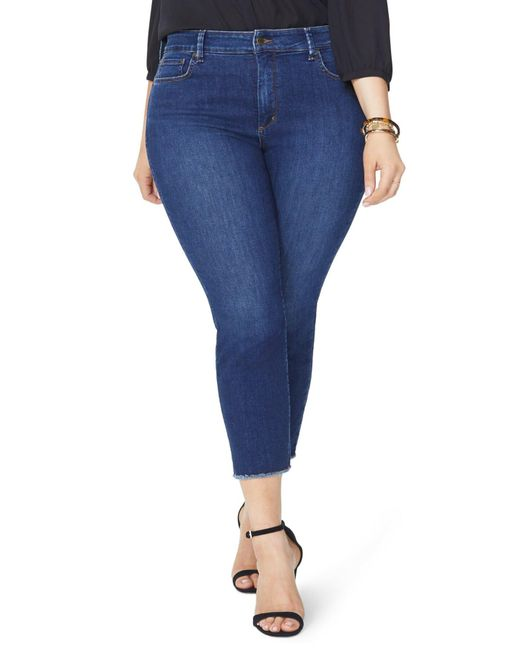 6b8019627ed07 NYDJ - Blue Sheri High Rise Fray Hem Stretch Slim Ankle Jeans (plus Size)  ...