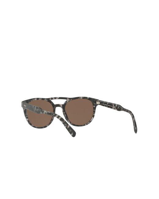 bd8bf7e49f14 ... Prada - Brown 54mm Round Aviator Sunglasses for Men - Lyst ...